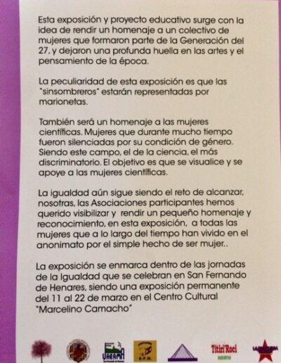 cartel de exposición homenaje al colectivo de mujeres